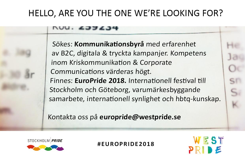 EuroPride söker efter en kommunikationsbyrå, är det ni?